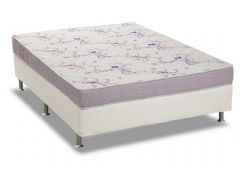 Conjunto Box: Colchão Ortobom Physical Resistente + Cama Box Base  Universal Courino White